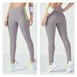 Fabletics High Waisted Leggings Grey and Yellow